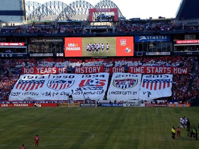 AO Seattle's 10 section Tifo display before the USA vs Panama Match